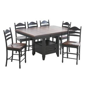 Intercon Hillside Village  Gathering Island and Ladder Back Bar Stools
