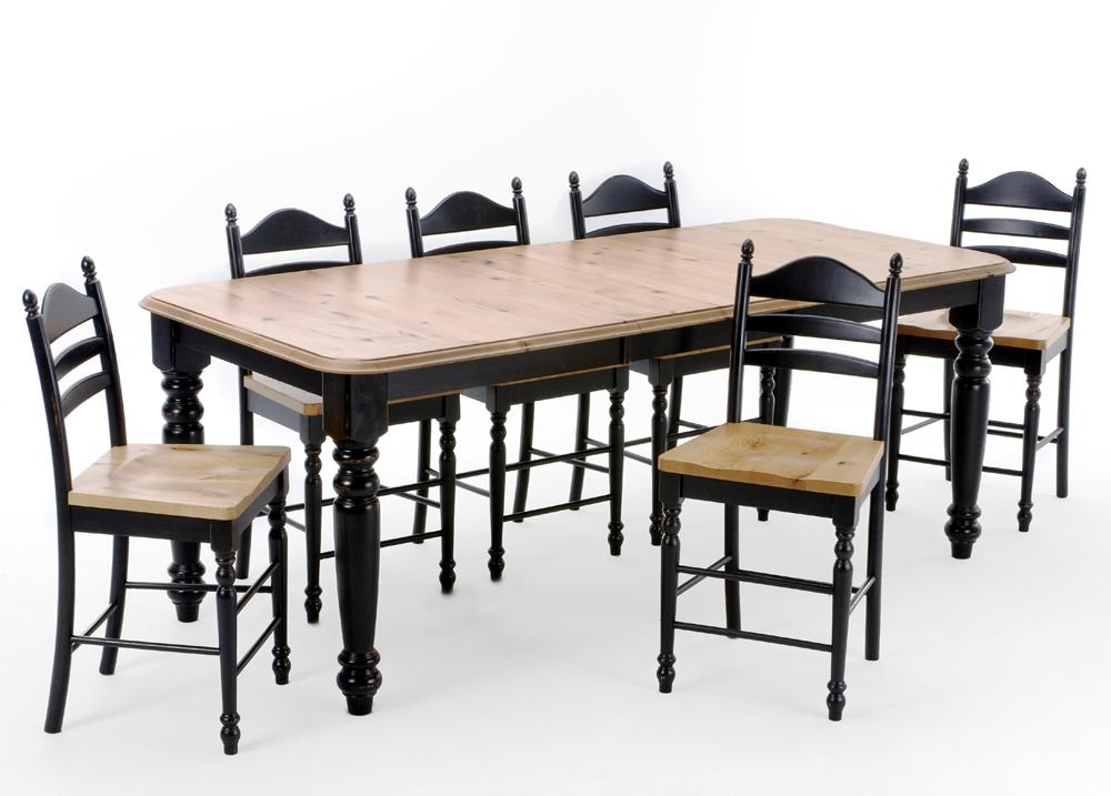 Intercon Hillside Village  Four Leg Table and Ladder Back Bar Stools - Item Number: HV-TA-TURN-BHO-B+T+6x489W-BLK-K24