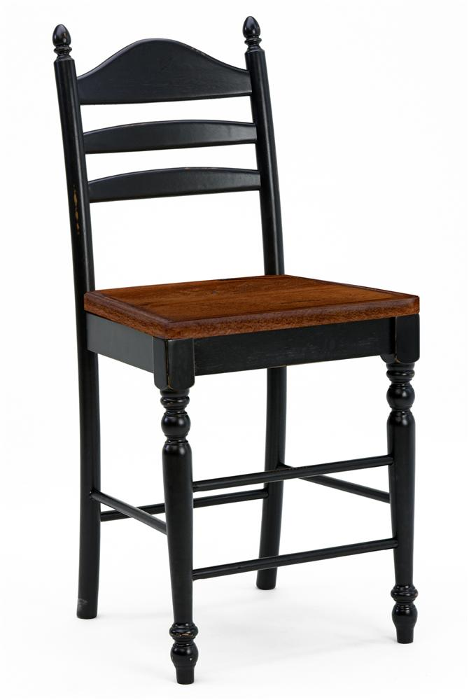"Intercon Hillside Village 24"" Ladder Back Bar Stool - Item Number: HV-VA-489W-BLK-K24-BCH"