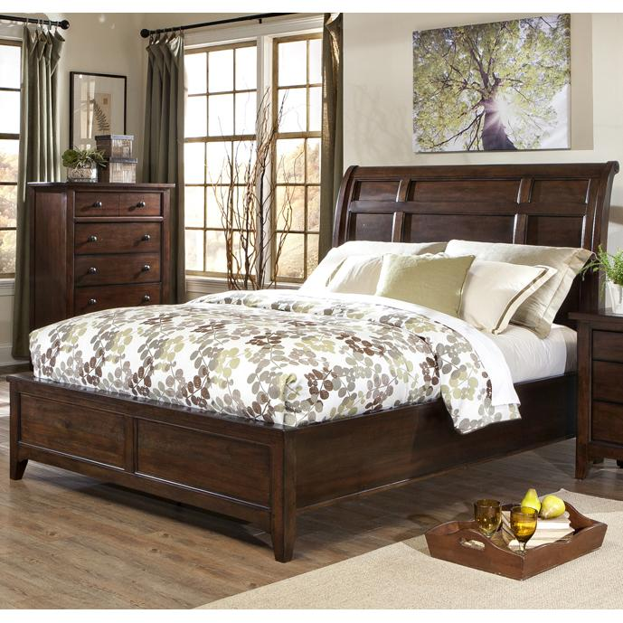 Intercon Jackson Queen Sleigh Bed - Item Number: JK-BR-5050Q-RAI-HB+FB+RS