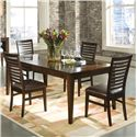 Intercon Kashi Dining Table with Glass Inlay and Chairs - Item Number: KI-TA-4278-CHA-C+4xCH-989C-CHA-RTA
