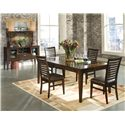 Intercon Kashi 5 Piece Rectangular Top Table with Glass Inlays and Ladder Back Chair Dining Set - Shown with Server