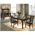 Intercon Kashi Rectangular Top Transitional Dining Table with Glass Inlays - Shown with Ladder Back Side Chairs and Server