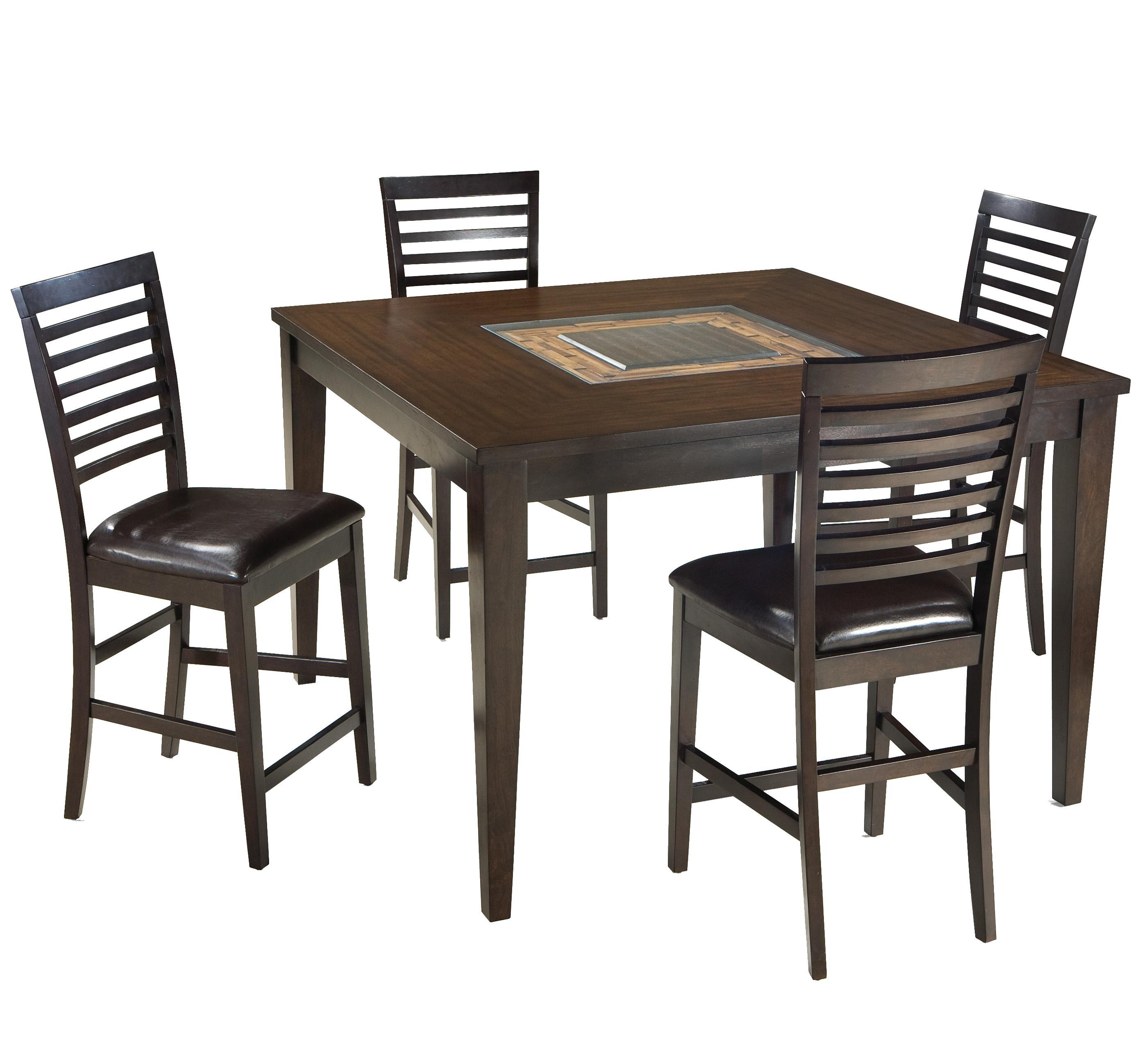 Intercon Kashi Gathering Table and Ladder Back Barstools - Item Number: KI-TA-5454G-CHA-C+4xBS-989C-CHA-K24
