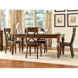 Intercon Kingston  Dining Table & 4 X-Back Side Chairs