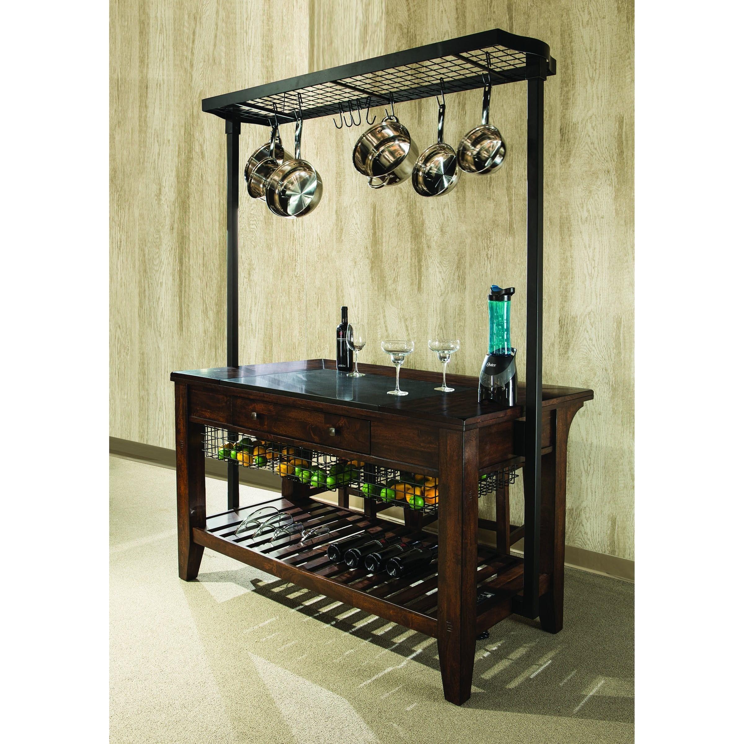 Intercon Kona Kitchen Island With Metal Pot Rack And Wine Storage Sheely S Furniture Appliance Kitchen Islands