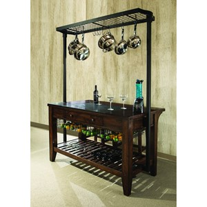 Intercon Kona Kitchen Island with Metal Pot Rack