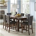 Intercon Kona 7-Piece Dining Set - Item Number: KA-TA-4090-RAI+6xKA-BS-280L-RAI-K24