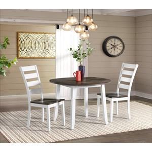 Transitional 3-Piece Drop Leaf Dining Table and Ladder Back Side Chair Dining Set