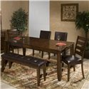Intercon Kona 6 Piece Dining Room Set - Item Number: KA-TA-4278B+2xCH-280L+2x669L+1650L