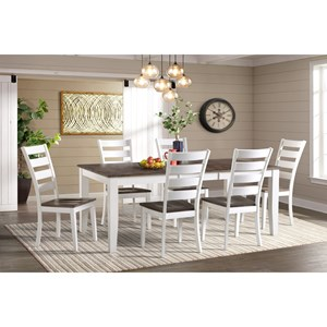 Transitional 7-Piece Dining Room Set with Extension Leaf