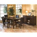 Belfort Select Cabin Creek 5 Piece Solid Mango Dining Set with Parson's Side Chairs - Shown in Room Setting with Server