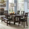 Intercon Kona Dining Set with Bench - Item Number: KA-TA-4492-RAI+4xCH-669L+CH-1560WB