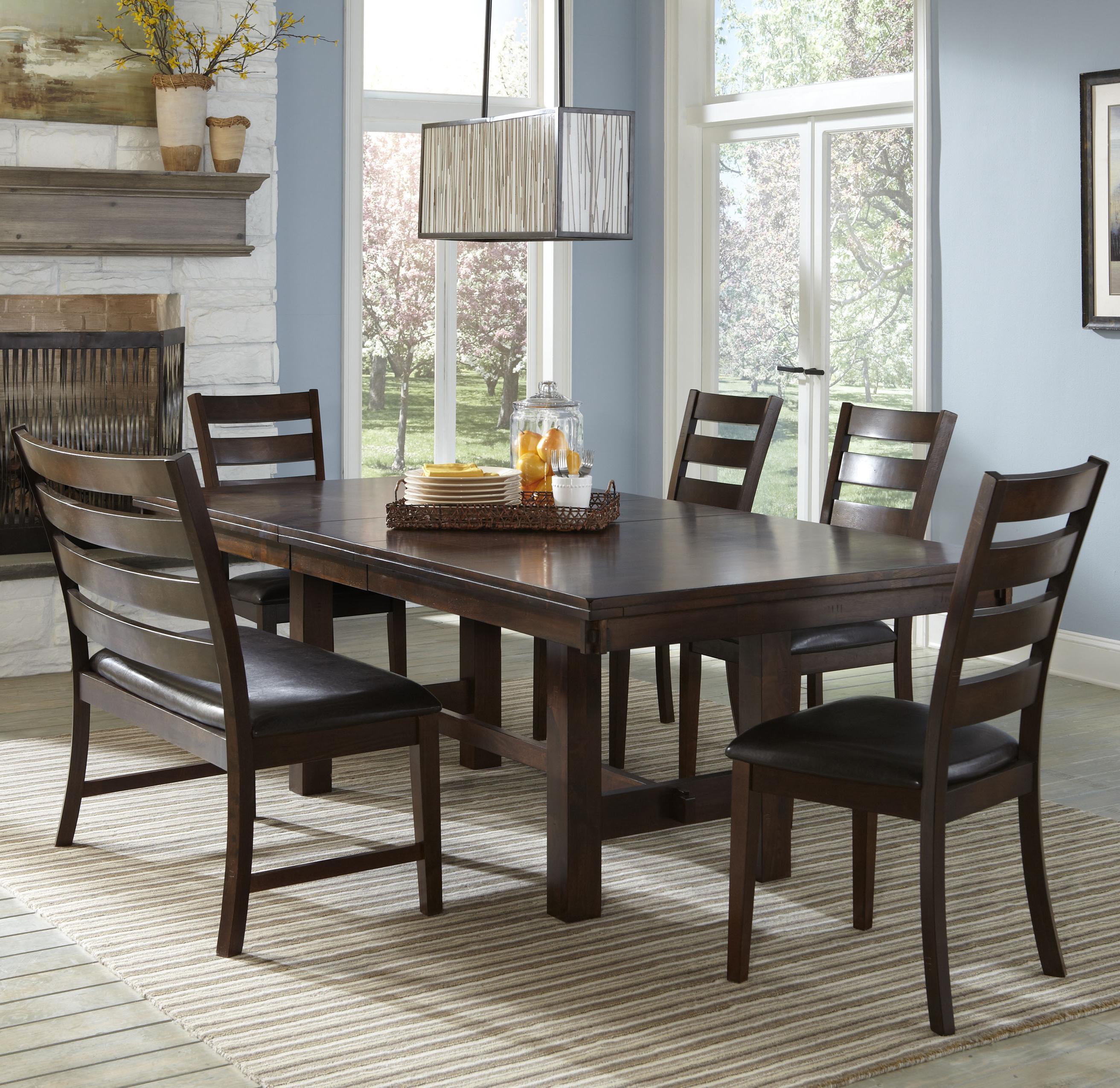 Intercon Kona Dining Set with Bench - Item Number: KA-TA-4492-RAI+4xCH-669L+CH-669LB