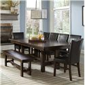 Intercon Kona Dining Set with Bench - Item Number: KA-TA-4492-RAI+6xCH-280L+CH-1560WB