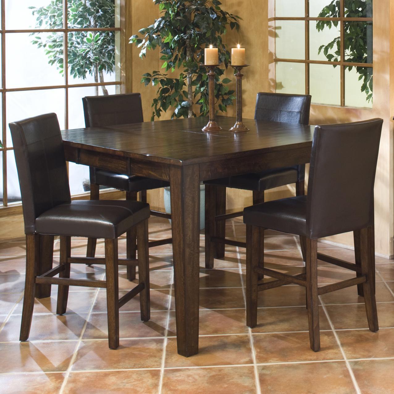 Belfort Select Cabin Creek Gathering Table with Parson's Barstools - Item Number: KA-TA-5454G-RAI-C+4xBS-280L-RAI-K24