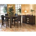 Intercon Kona Solid Mango Gathering Table with Butterfly Leaf - Shown in Room Setting with Parson\'s Barstools and Server