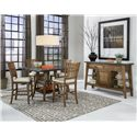Intercon Lucca Slat Back Gathering Height Stool with Cushion