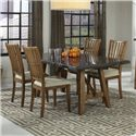 Intercon Lucca 5 Piece Table and Chairs Set - Item Number: LU-TA-4272-RBS-C+4xCH-1160C-RTA