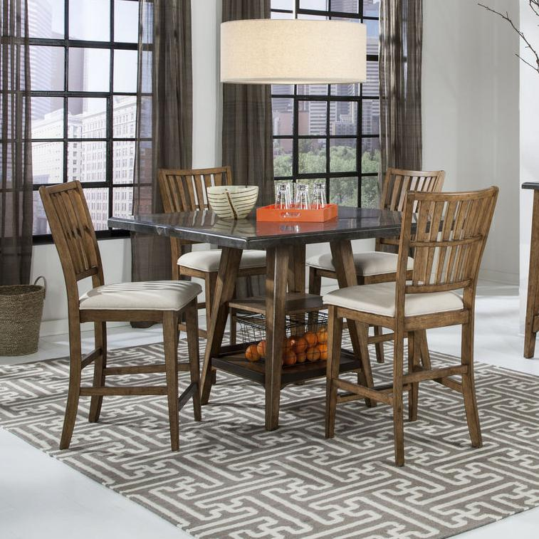 Intercon Lucca 5 Piece Gathering Table and Stools Set - Item Number: LU-TA-4848G-RBS-C+4xBS-1160C-K24
