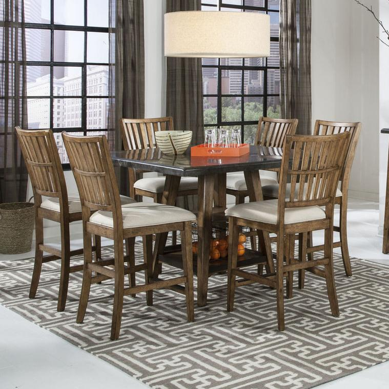 Intercon Lucca Gathering Table and 6 Stools Set - Item Number: LU-TA-4848G-RBS-C+6xBS-1160C-K24
