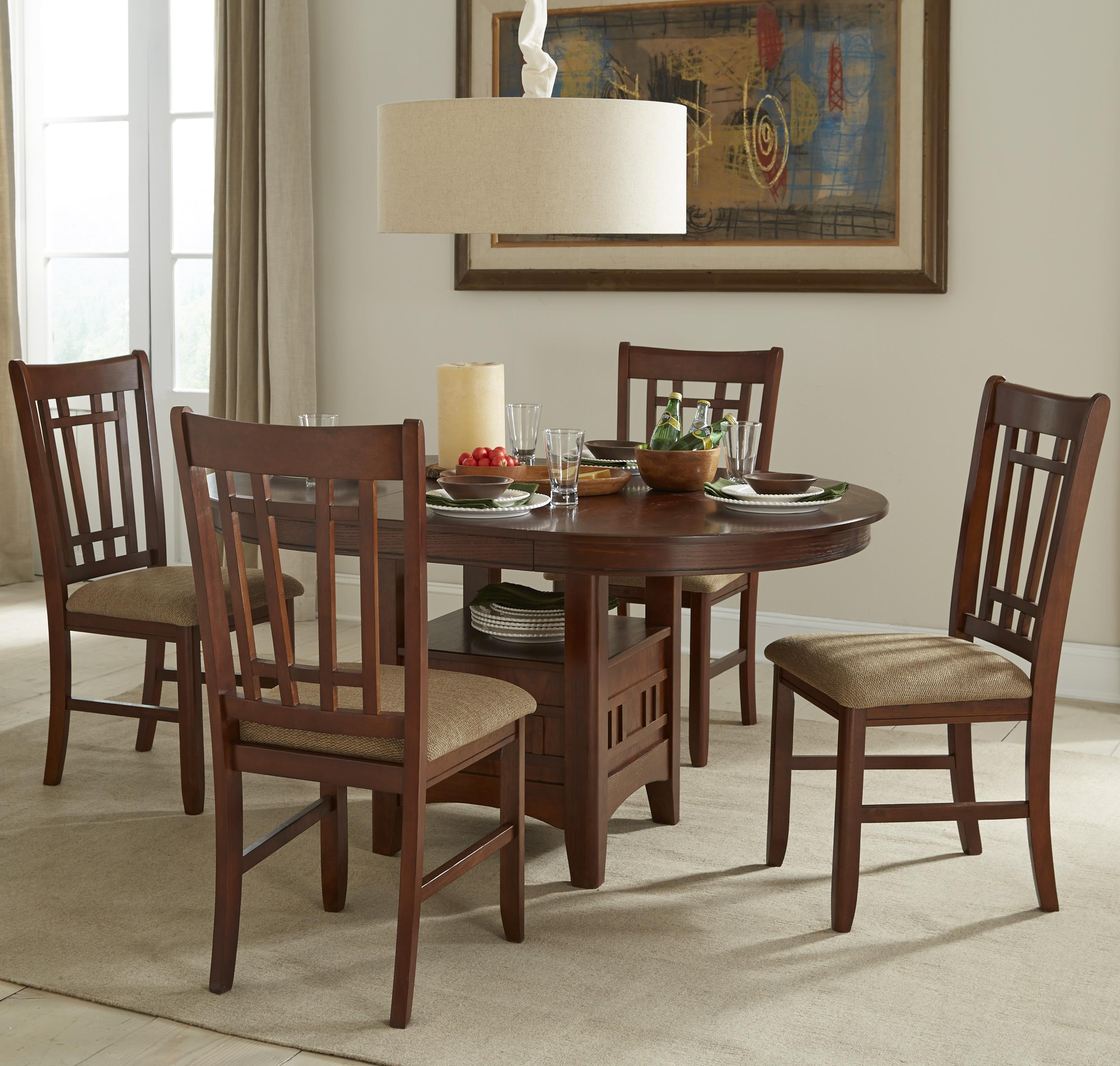 Intercon Mission Casuals 5 Piece Table & Chair Set - Item Number: MI-TA-4260-DMI-BSE+TOP+4x850C-DMI