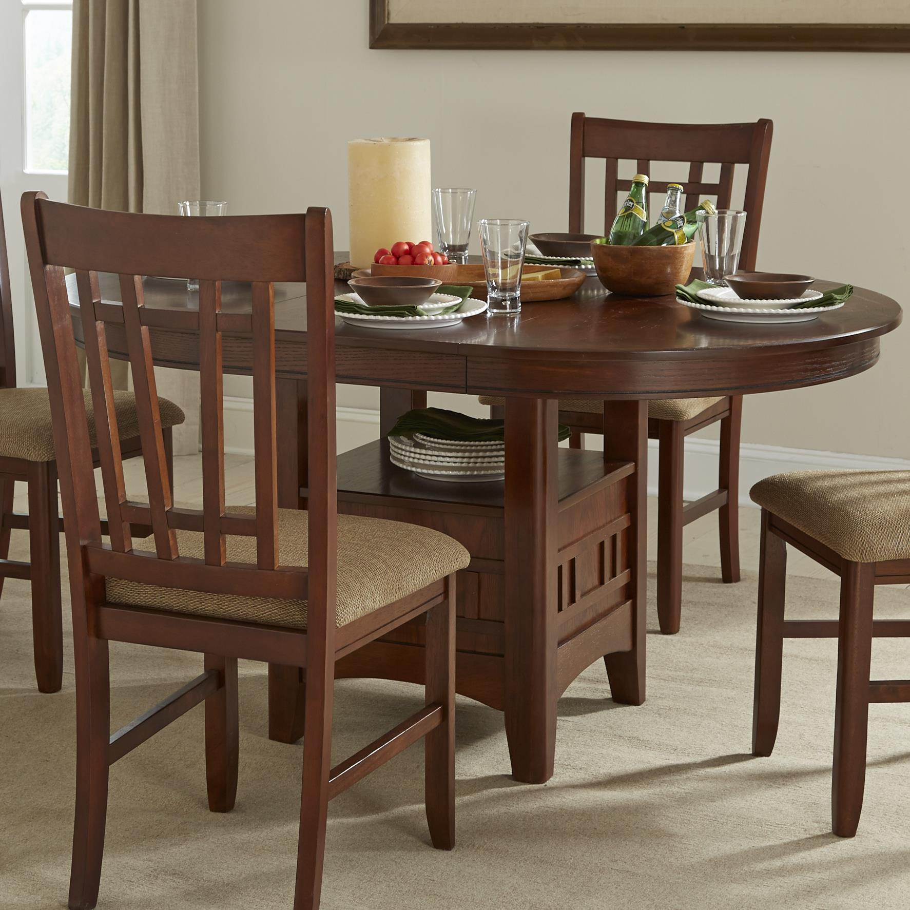 Intercon Mission Casuals Dining Table Ped Base & Top - Item Number: MI-TA-4260-DMI-BSE+TOP