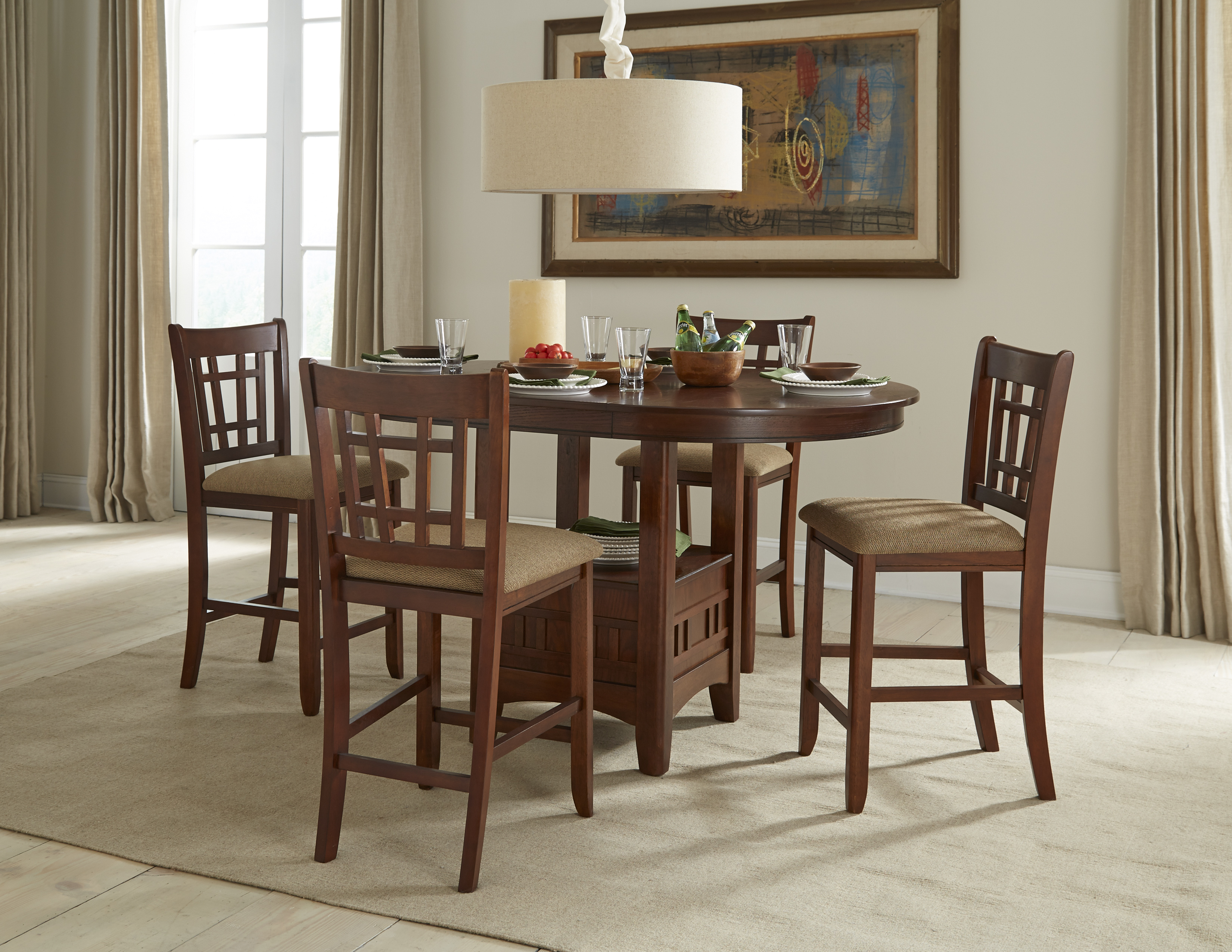 Intercon Mission Casuals 5-Piece Gathering Set - Item Number: MI-TA-4260G-DMI-BSE+TOP+4x850C-K24