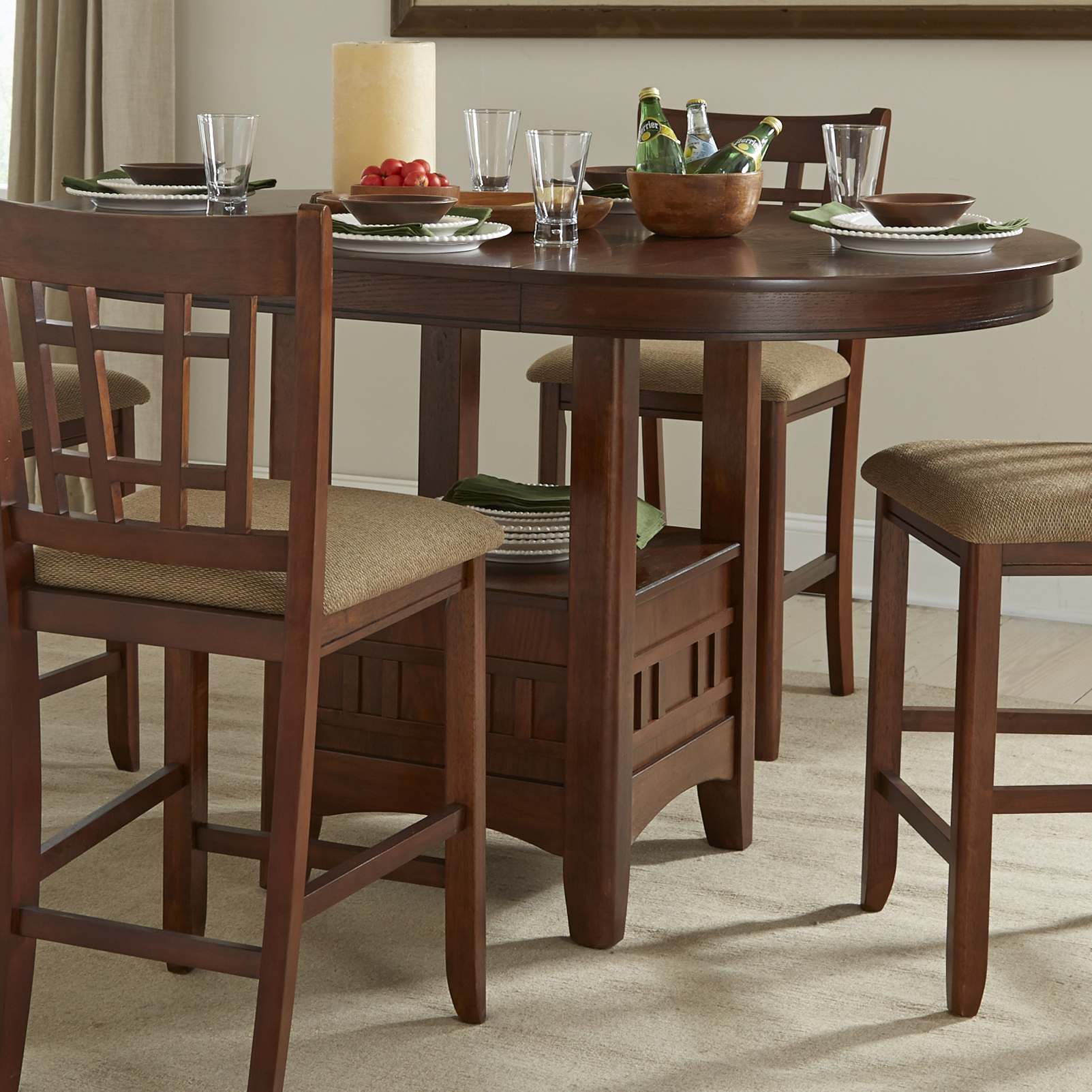 Dining Room Furniture Michigan: Intercon Mission Casuals Pedestal Gathering Table With