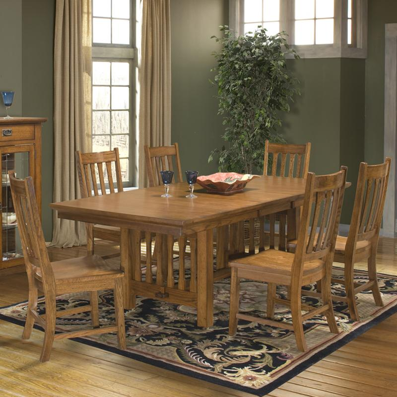 Intercon Mission Leopold 7-Piece Trestle Table & Chair Set - Item Number: MD-TA-4290B-BMI-BSE+TOP+6xCH-N850