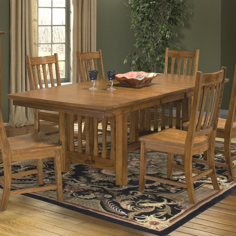 Intercon Mission Leopold Double Pedestal Table with Trestle - Item Number: MD-TA-4290B-BMI-BSE+TOP
