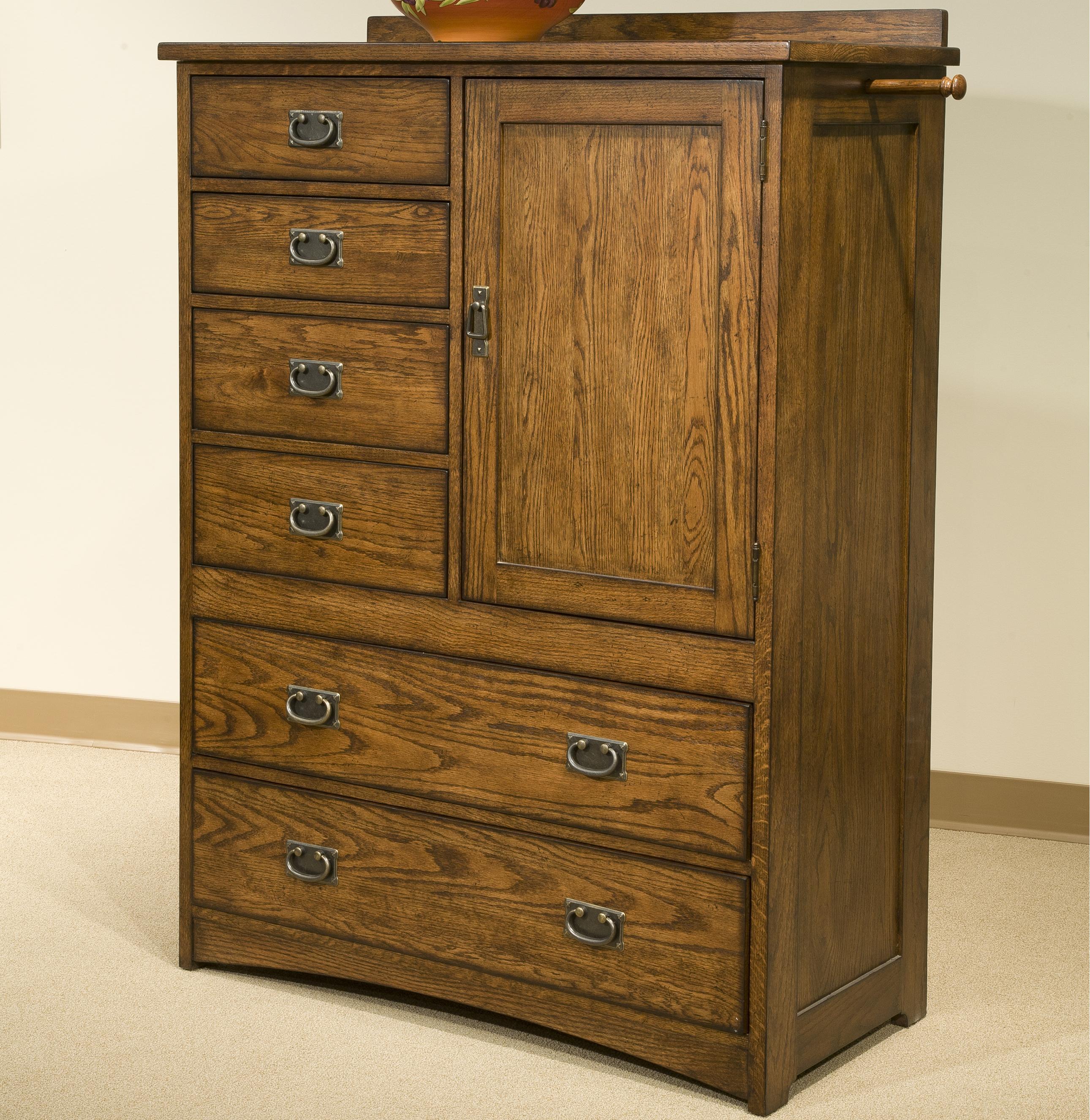 Intercon Oak Park Chest of Drawers with Door - Item Number: OP-BR-5806D-MIS-C