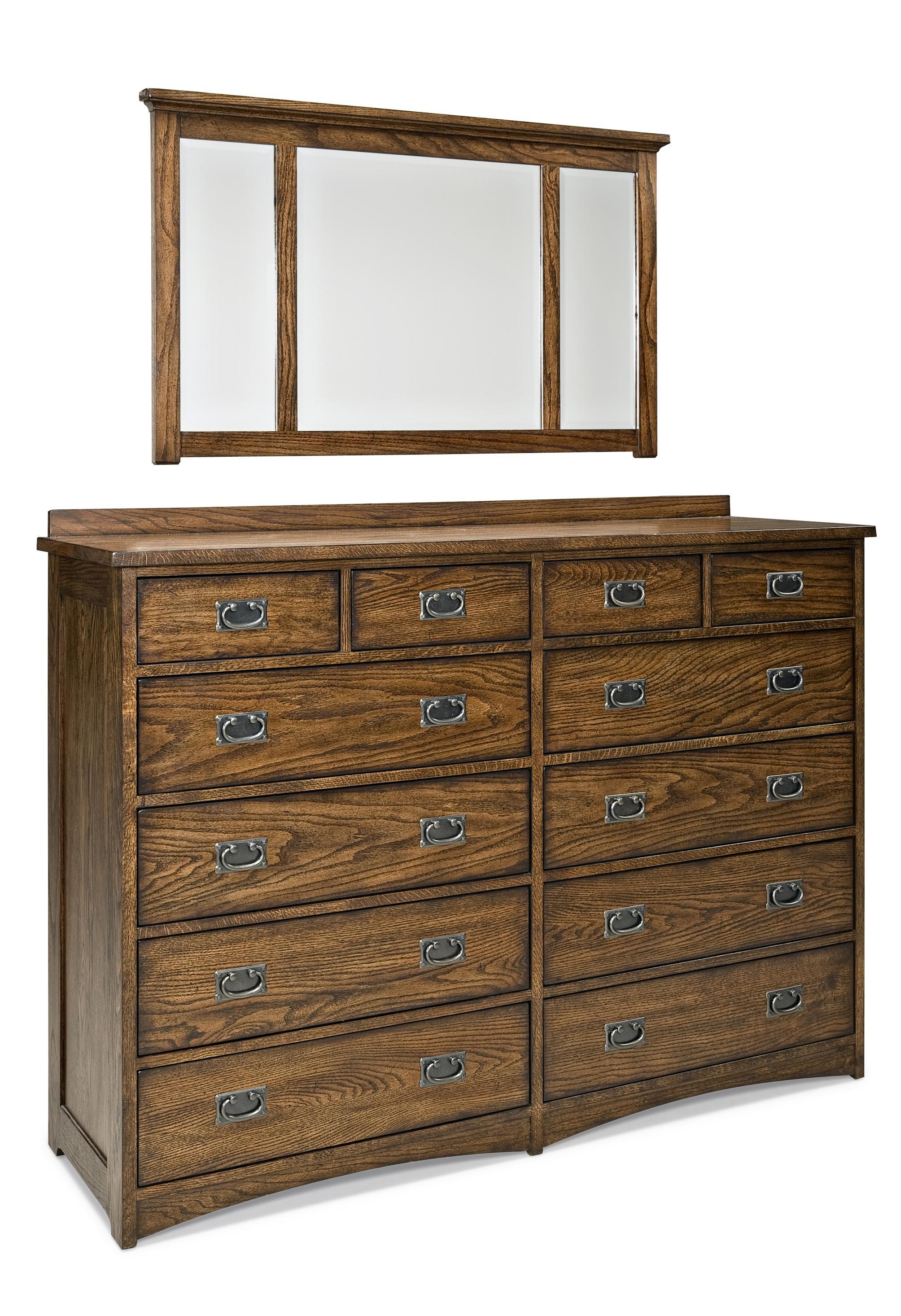 Twelve Drawer Dresser and Mirror Set