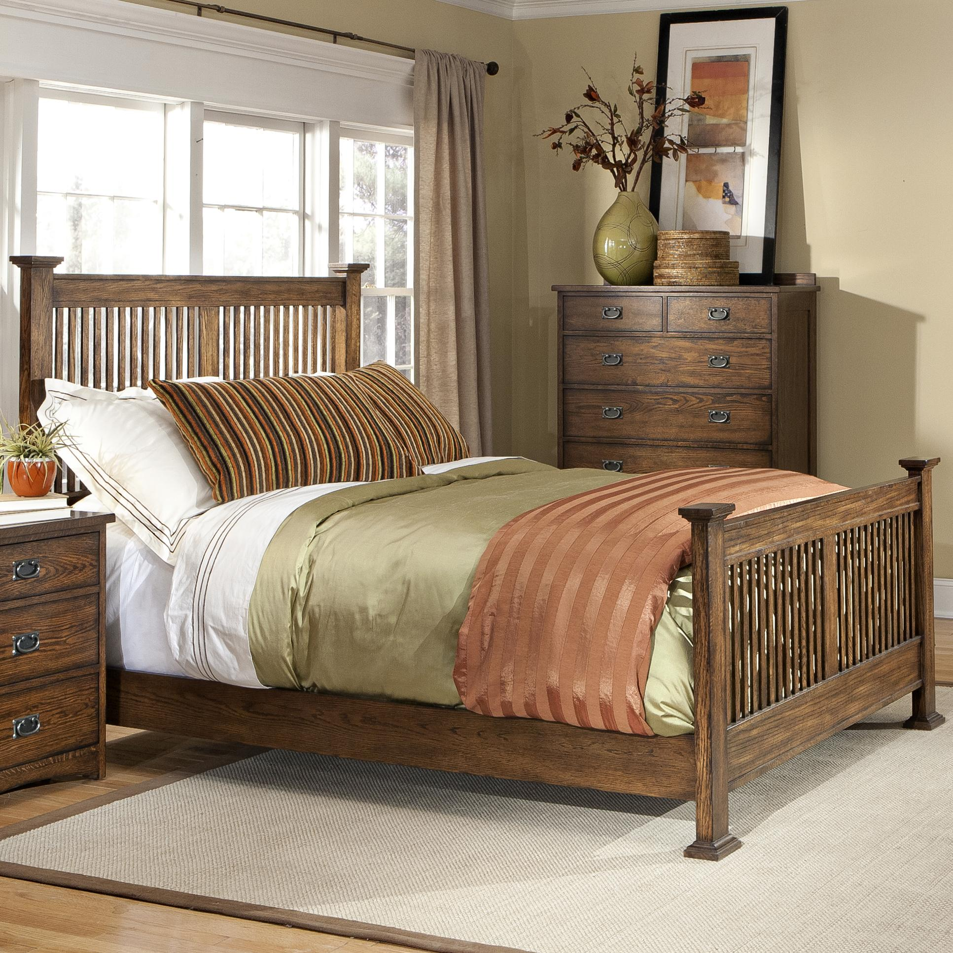 Intercon Oak Park Solid Oak Mission Bed - Item Number: OP-BR-5825Q-MIS-C