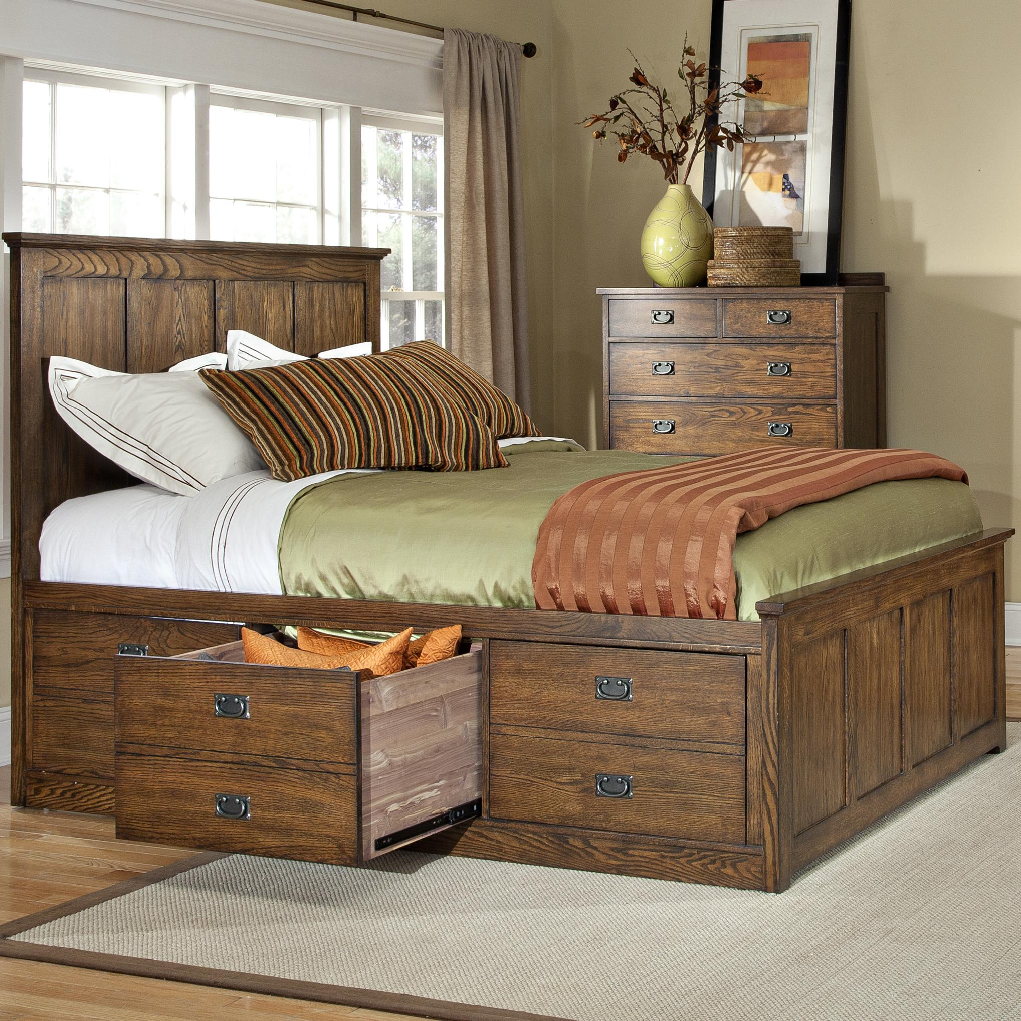 Intercon oak park op br 5853ck mis c mission california king bed with six underbed storage - Cal king bed with drawers ...