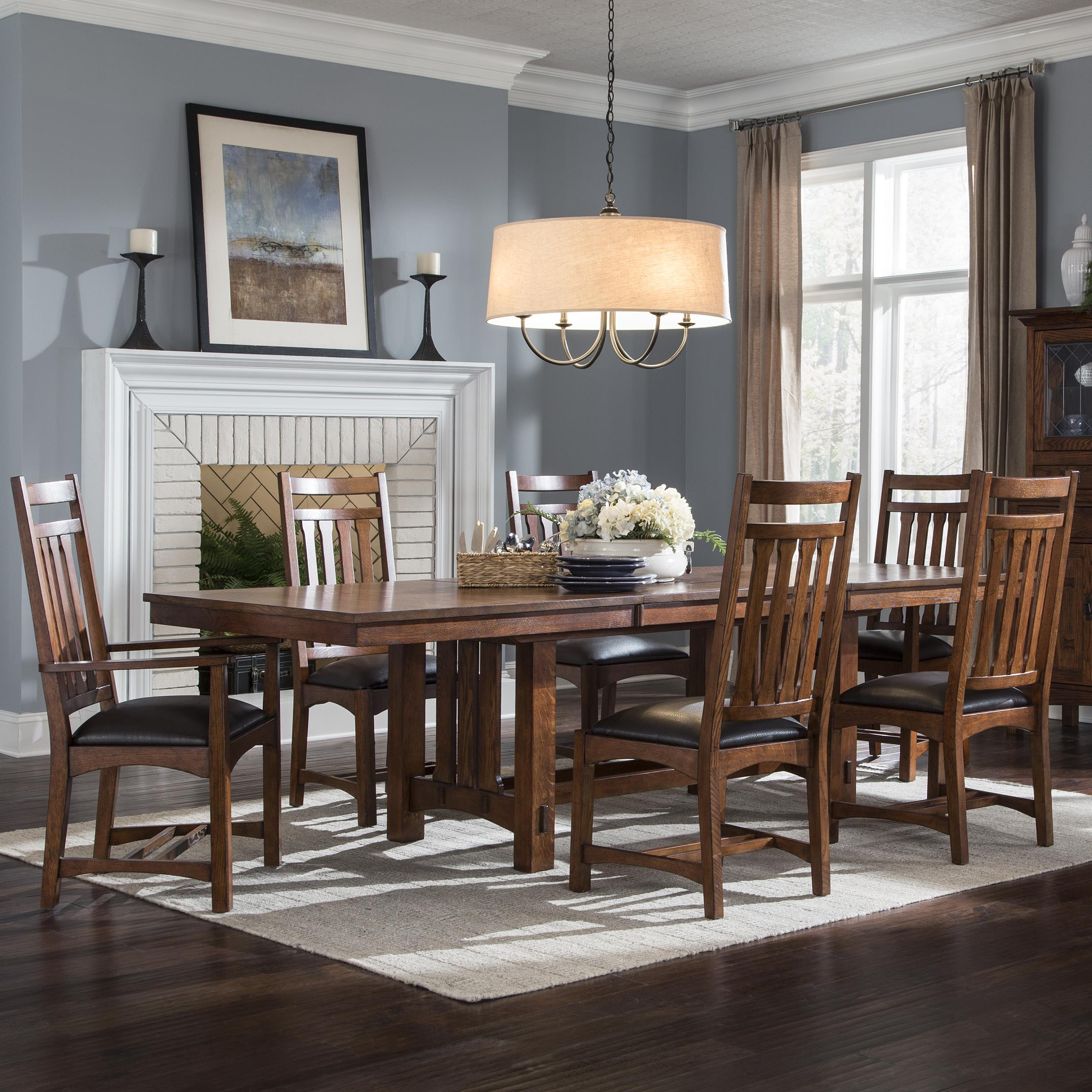 Oak Dining Room Set Sideboard Table Pressback Chairs: Intercon Oak Park 7 Piece Dining Set With Slat Back Chairs