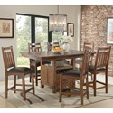 Intercon Oak Park 7 Piece Counter Height Dining Set - Item Number: OP-TA-4866G-MIS-C+6xBS-925C-MIS-K24