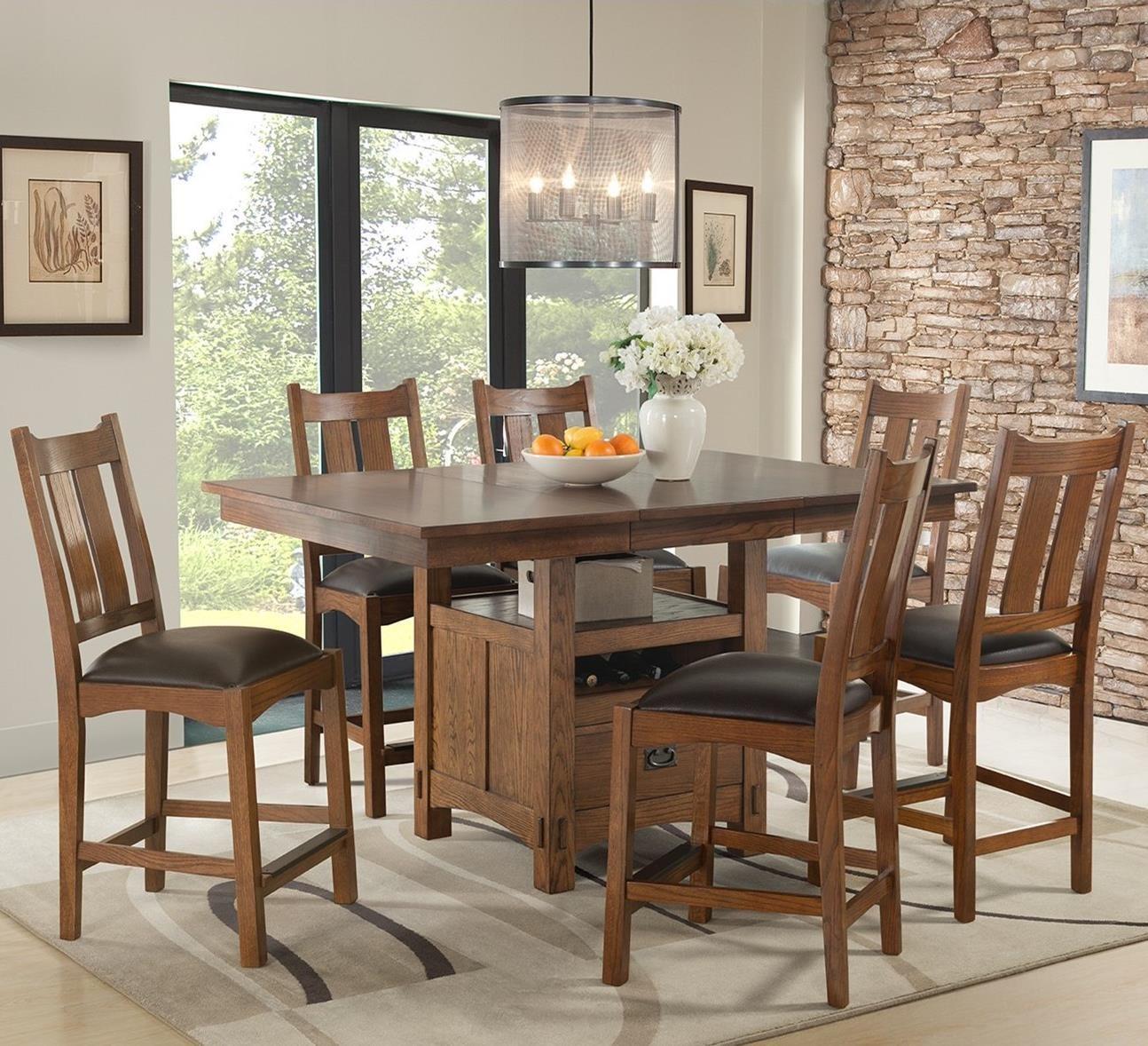 Intercon Oak Park 7 Piece Counter Height Dining Set - Item Number: OP-TA-4866G-MIS-C+6xBS-950C-MIS-K24