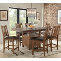 Intercon Oak Park Gathering Height Kitchen Island Style Table with Storage and Leaf