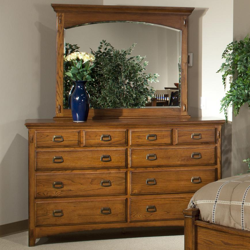 Intercon Pasadena Revival  Dresser and Mirror - Item Number: PR-BR-5408-MBN-C+91-MBN-C