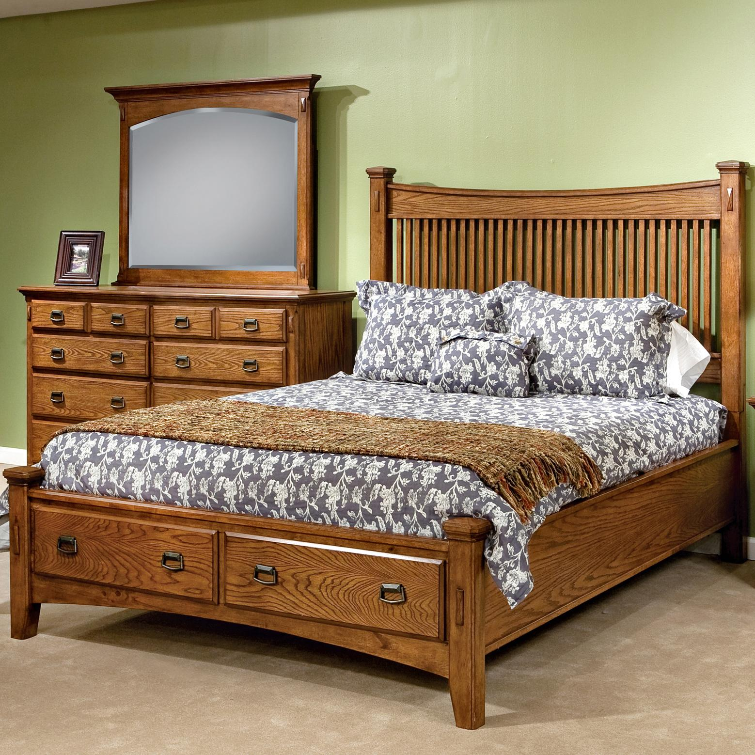 Intercon Pasadena Revival  Queen Storage Bed - Item Number: PR-BR-5450QS-MBN-FB+RS+5450Q-MBN-HB