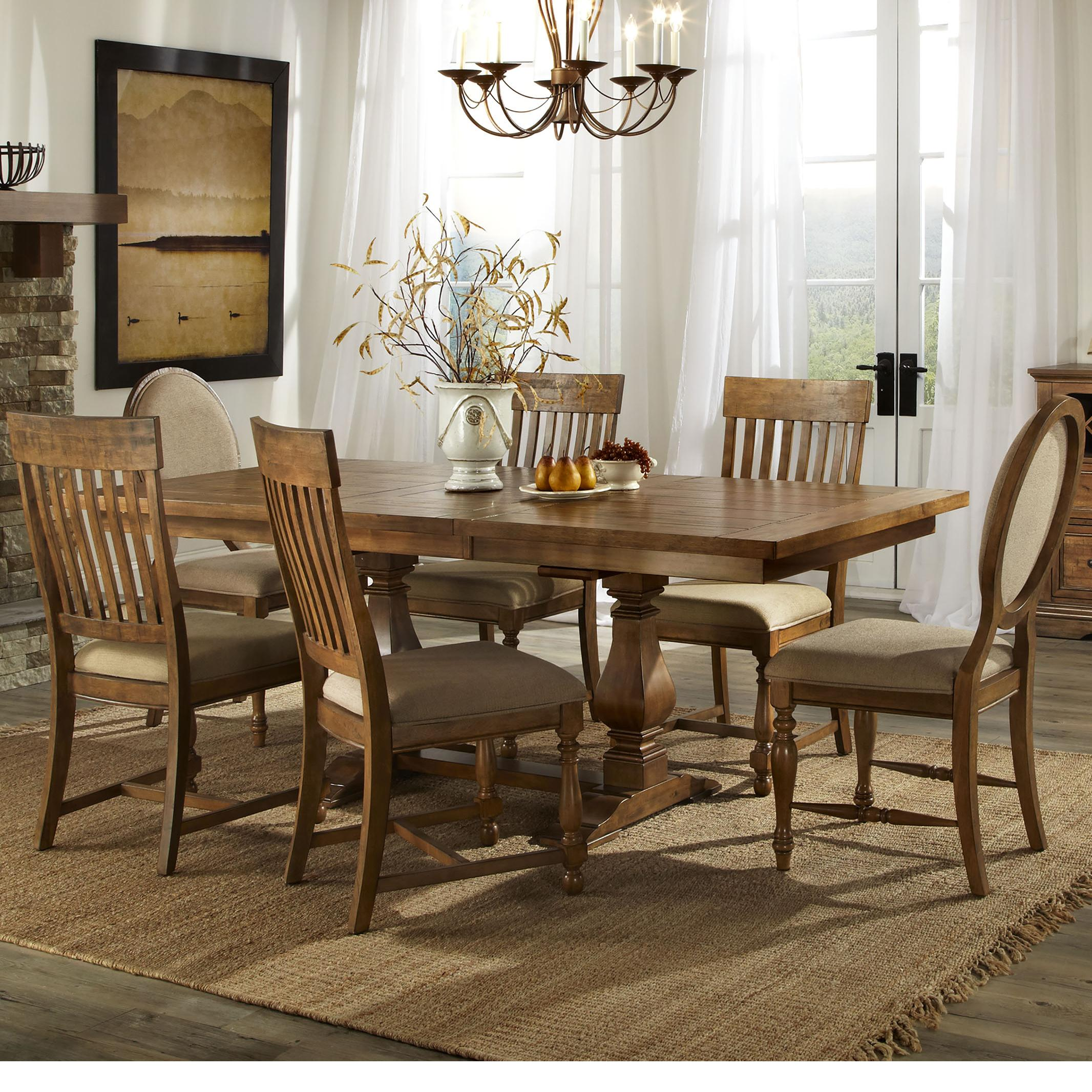 Belfort Select Loudoun Crossing Dining Table and Chair Set - Item Number: R-T-4-B-B+B-T+4xR-C-C-B-R+2x0C-B-R