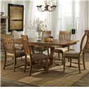 Belfort Select Loudoun Crossing Dining Trestle Table and Chair Set with 6 Chairs
