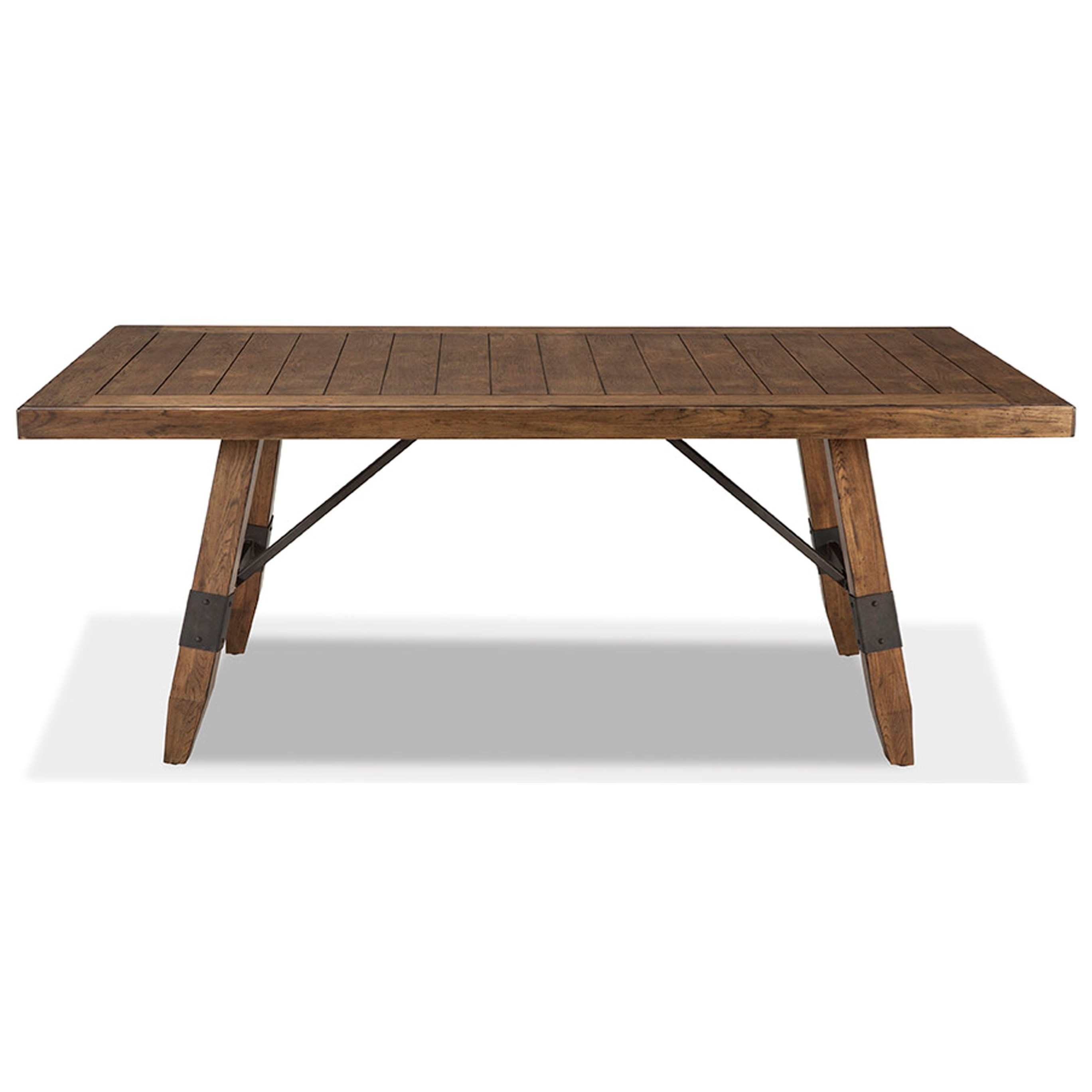 Intercon River Rectangular Trestle Dining Table With Self