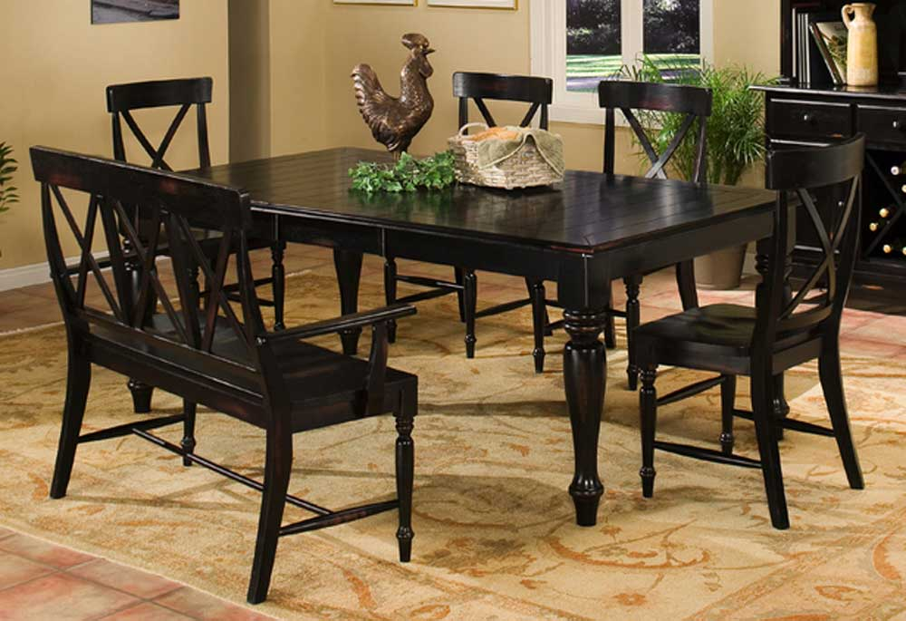 Intercon Roanoke Dining Table with Bench and Chairs - Wayside