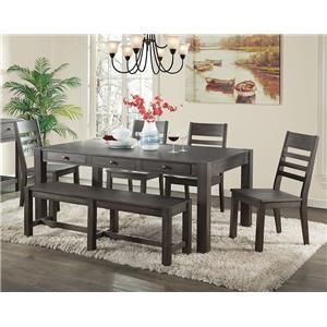 Intercon Salem 6 Piece Table, Chair & Bench Set