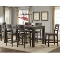 Intercon Salem 7 Piece Gathering Height Table and Stool Set - Item Number: SL-TA-4272G-BCO-C+6xBS-289W-BCO-K24