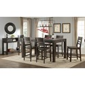 Intercon Salem 7 Piece Parsons Style Gathering Height Table and Bar Stool Set - Shown with Coordinating Server