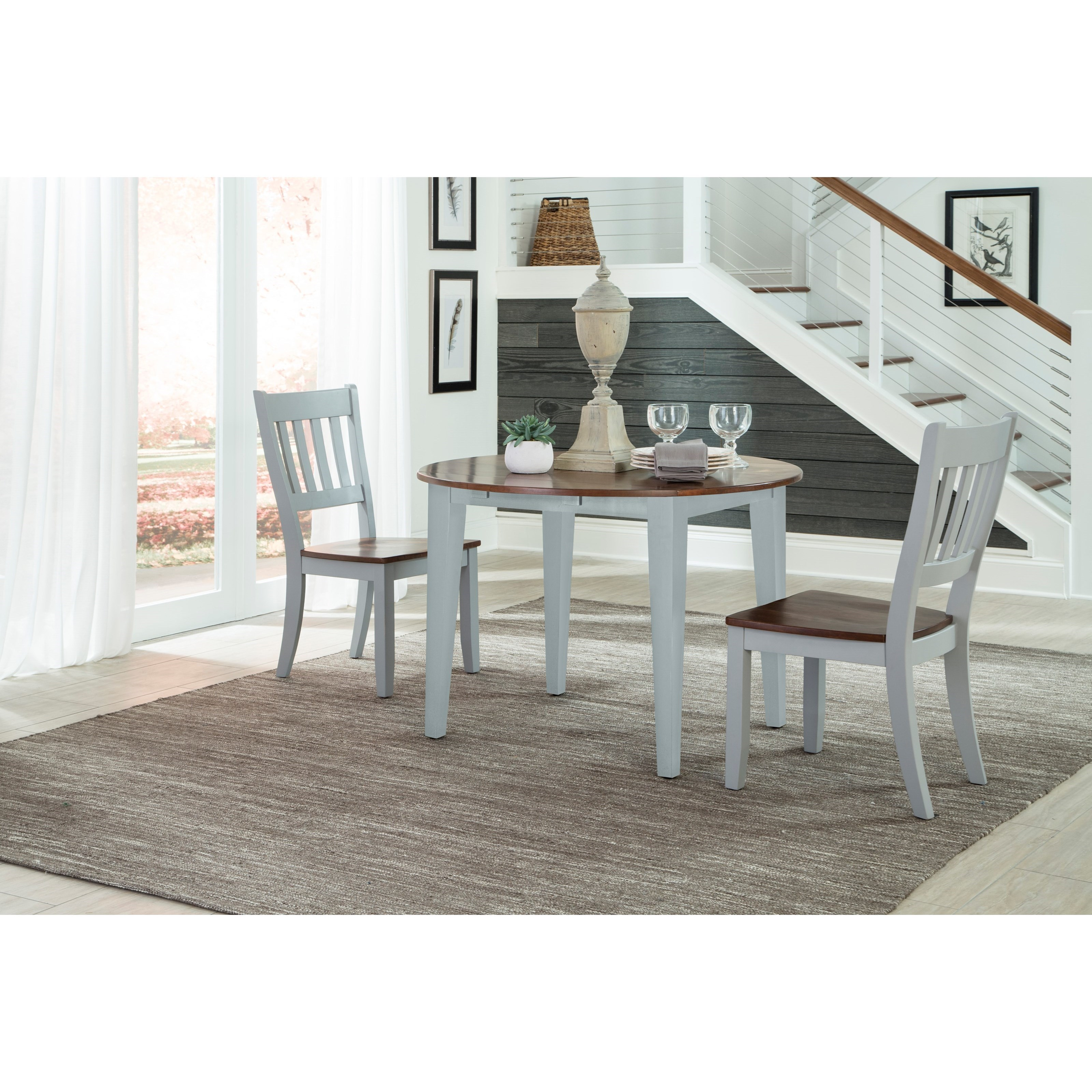 Intercon small space 3 piece drop leaf table and slat back chair set wayside furniture - Piece dining set small spaces plan ...
