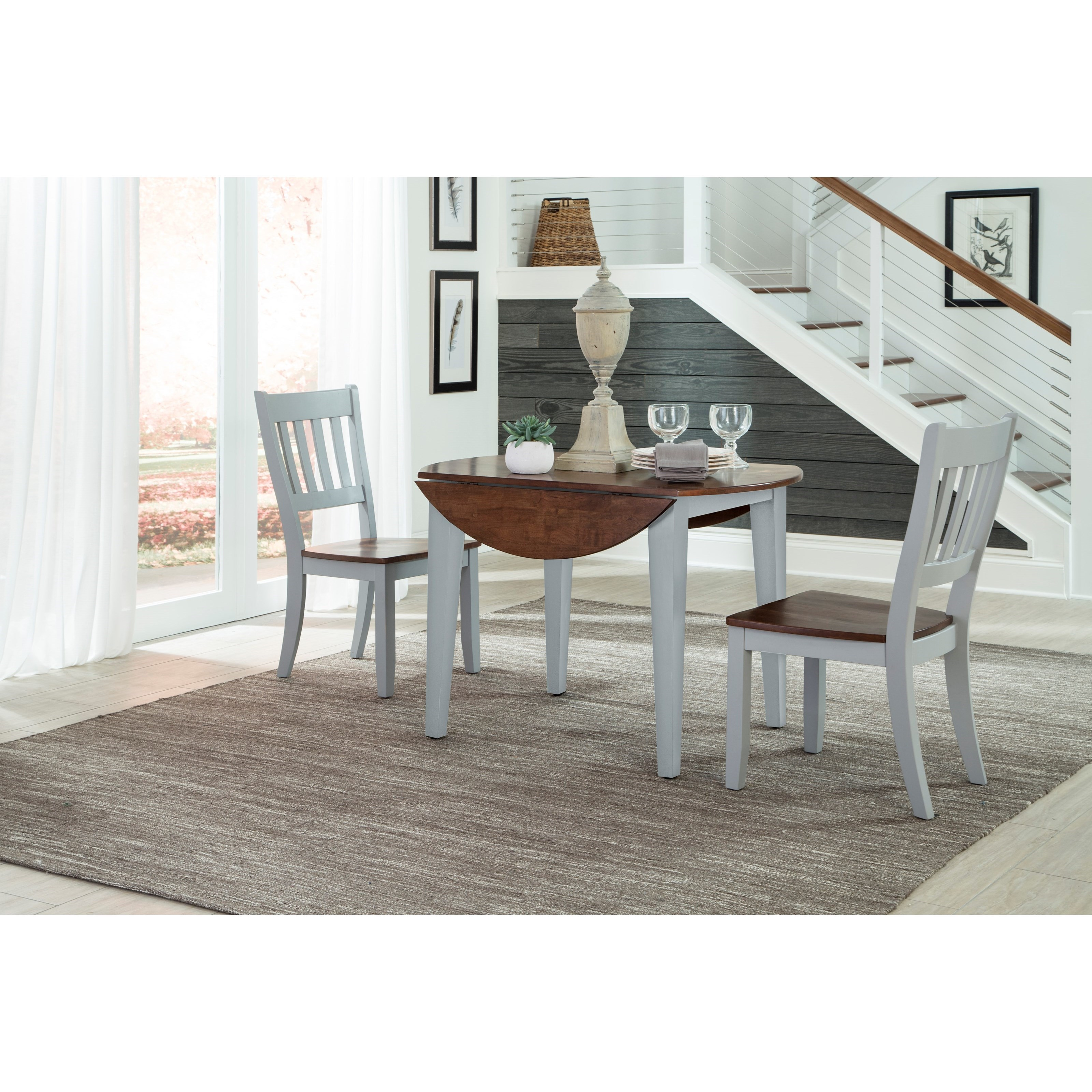 Intercon Small Space 3 Piece Drop Leaf Table And Slat Back